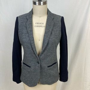 J Crew cotton and contrast knit wool blazer